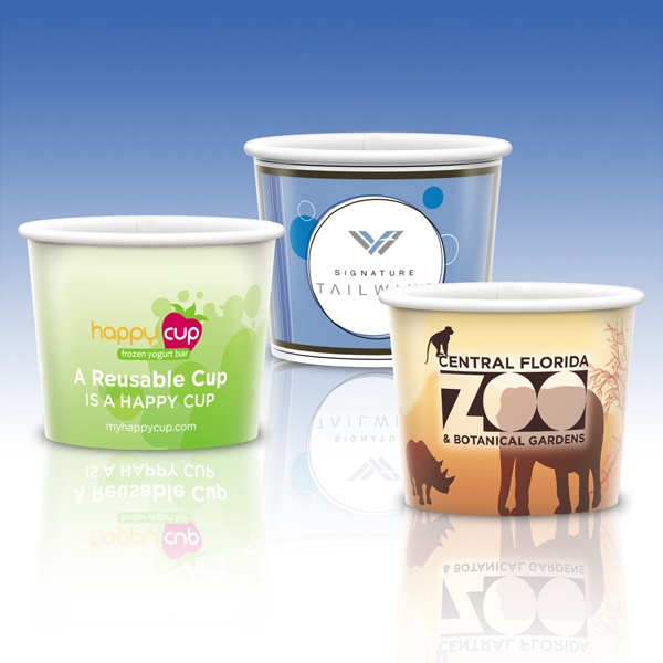 8 Oz. Reusable White Plastic Tub-full Color- Promotional Container Photo