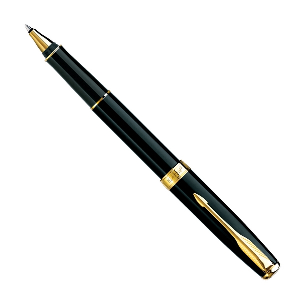 Sonnet (r) - Laque Black With 23-k Gold Plate Trim - Lacquered Roller Ball Pen With Elegant Finish On Clip And Trim Photo