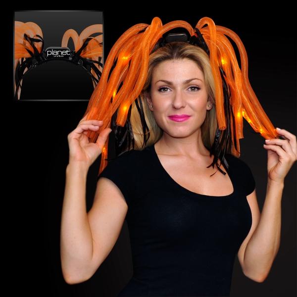 Orange Noodle Headband with LED's and Black Ribbons
