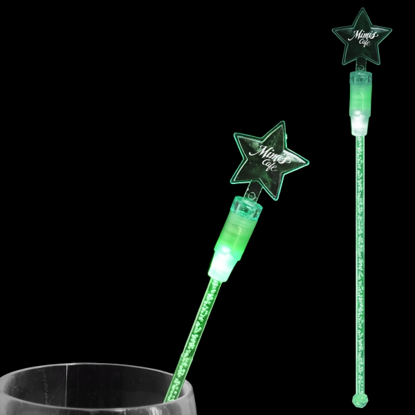"9"" star shaped LED drink stirrers"