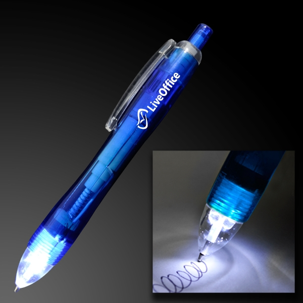 White LED Light Tip Blue Pen