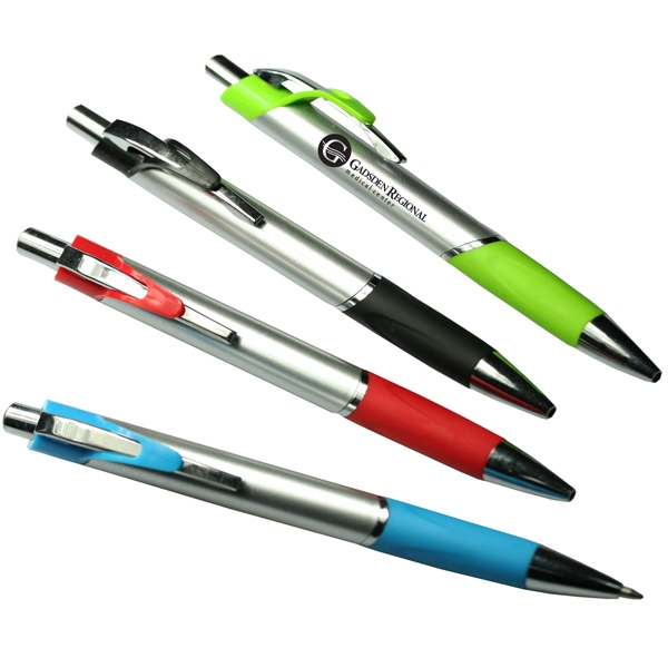 Neptune - Ballpoint Pen, Matte Silver Barrel With Shiny Silver Accent & Colorful Comfort Grip Photo