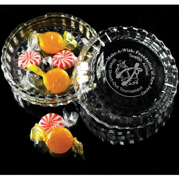 Round Box With Attractively Decorated Lid That Highlights Your Logo Or Message Photo