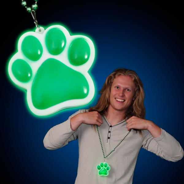 Paw Print Charm With 3 Light Settings And Beaded Necklace. Blank Photo