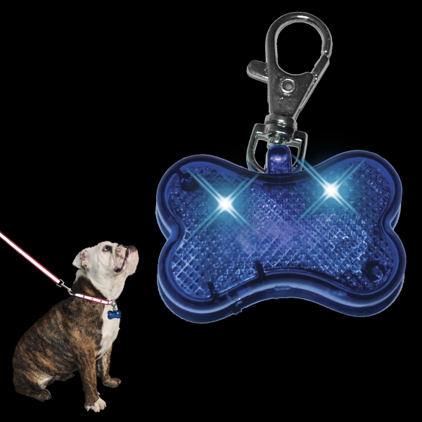 LED Dog Bone Pet Safety Light, Blue