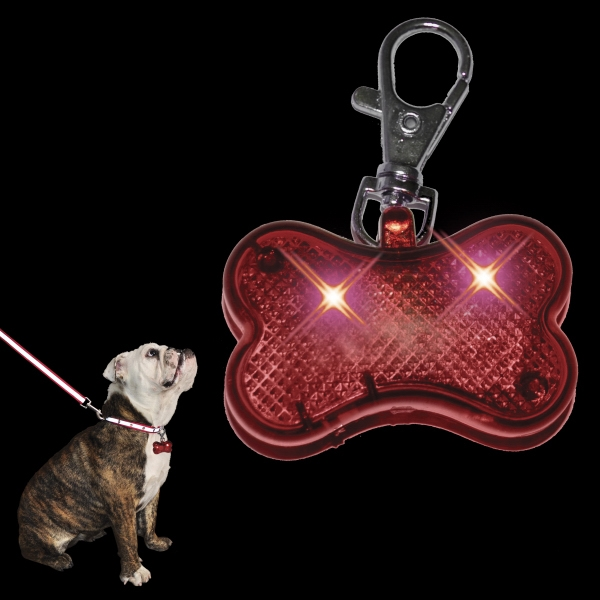 LED Dog Bone Pet Safety Light, Red