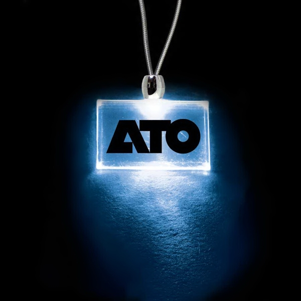 "High Quality, Rectangle Blue Light-up Acrylic Pendant On A 24"" Necklace Photo"