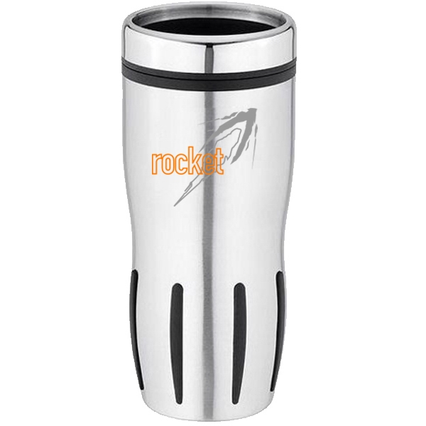 16 Oz. Stainless And Plastic Travel Mug With Black Rubber Grip And Thumb Slide Lid Photo