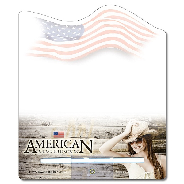 Flag Shaped 14 Pt Laminated Paper Memo Board With Wet-erase Pen Photo