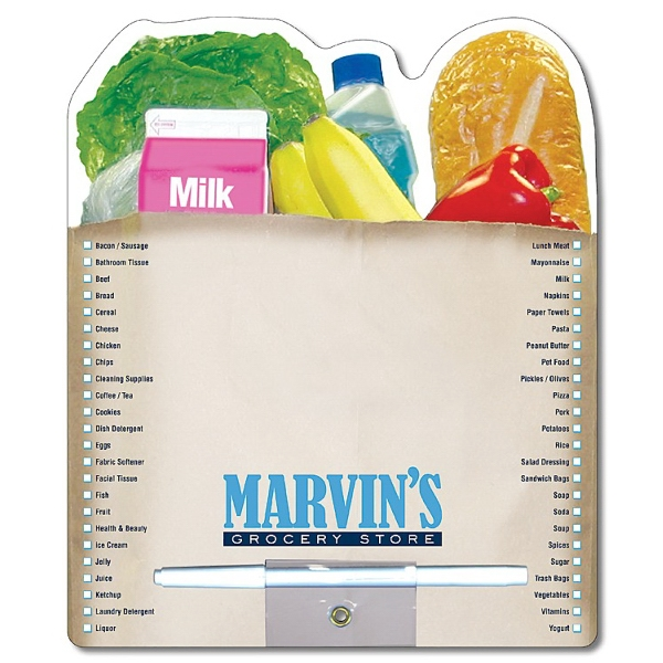 Grocery Bag Shaped 14 Pt Laminated Paper Memo Board With Wet-erase Pen Photo