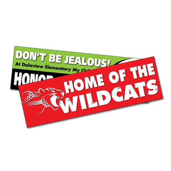 "8 5/8"" x 2 1/2"" UV Coated Vinyl Bumper Sticker"