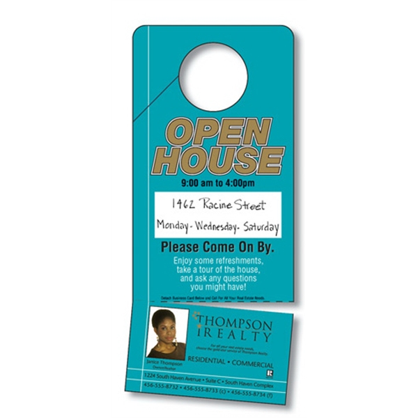 Plastic Door Hanger - 3.5 X 8 Laminated With Slit And Detachable Business Card Photo