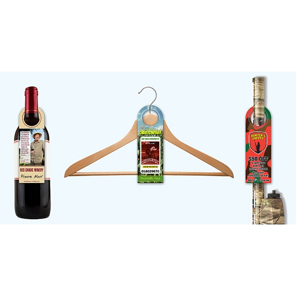 Uv Coated (1s) Bottle Hanger - 2.5 X 7.625 (round Top With 1.5625 Hole) Photo