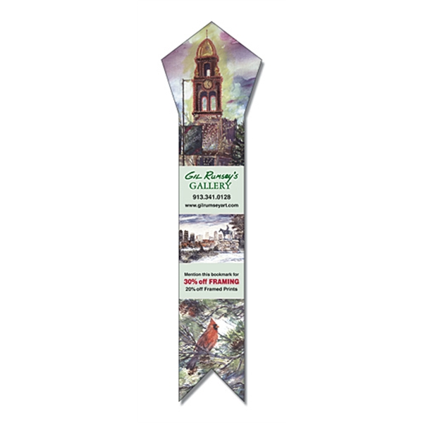 "2 1/4"" X 8 1/2"" Pentagon Top Bookmark/ruler. 14 Pt Paper With Uv Coating Photo"