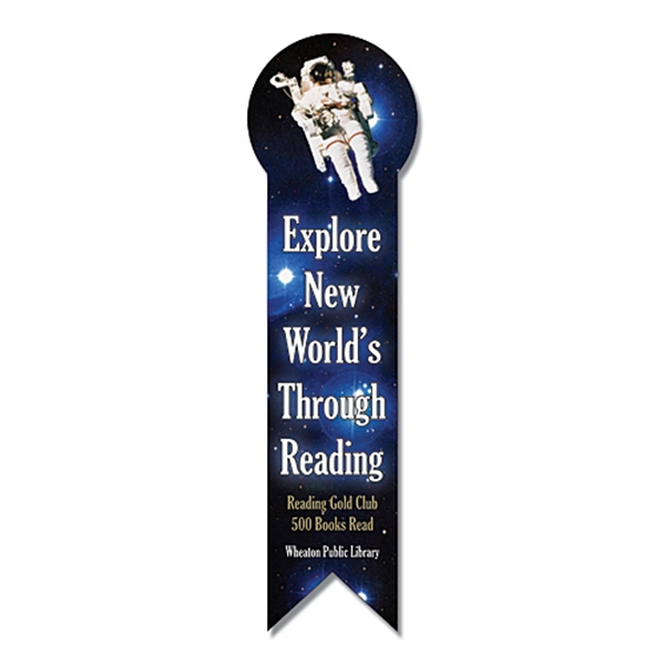 "2 1/8"" X 7 1/2"" Circle Top Ribbon Shaped Bookmark/ruler. 24 Pt Laminated Paper Photo"