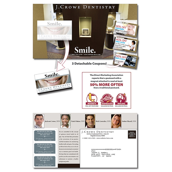 Magna-peel (tm) - Postcard (10.5 X 5.5) With 3 Perforated Coupons And Business Card Magnet Photo