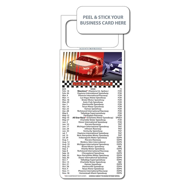 "M.b.c. Sport Schedules - Nascar Racing (3.5"" X 9""). Available To Ship In January Photo"