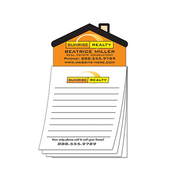 Magna-pad (tm) - Custom - 3.5 X 6.25 25-sheet Pad With House Shape Magnet Photo