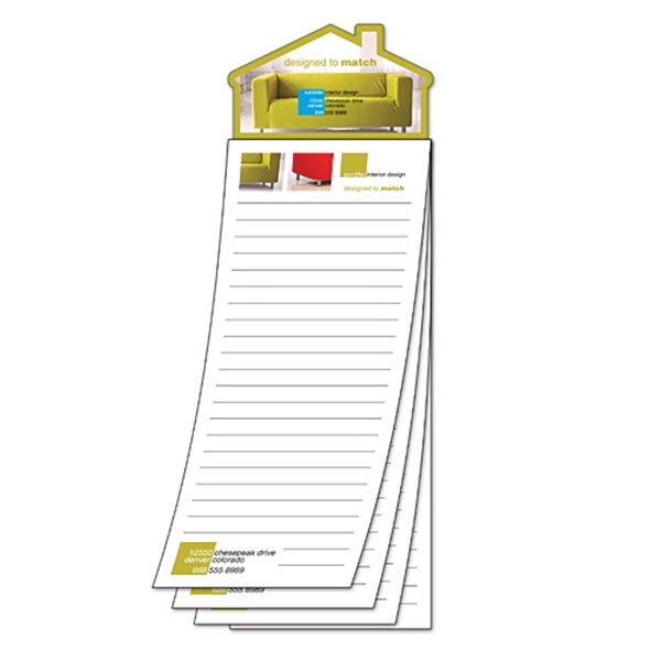 Magna-pad (tm) - Custom 3.5 X 10.5 - 25-sheet Pad With House Shape Magnet Photo