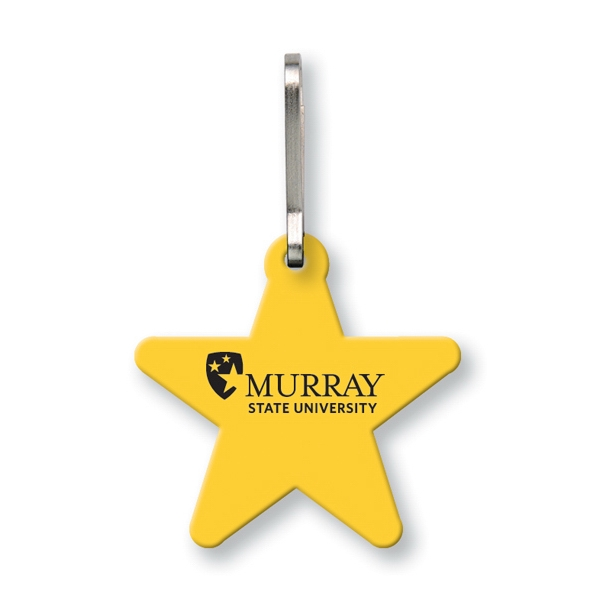 Quik-zip (tm) Sof-touch (r) - Bag & Luggage Tag (zipper Pull) - Large Star. Spot Color Screen Print Photo