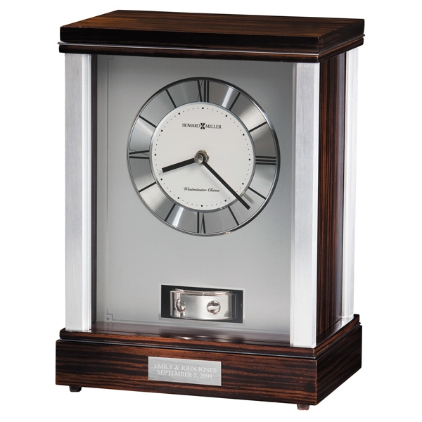 Gardner - Chiming Brushed Aluminum Mantel Clock Photo