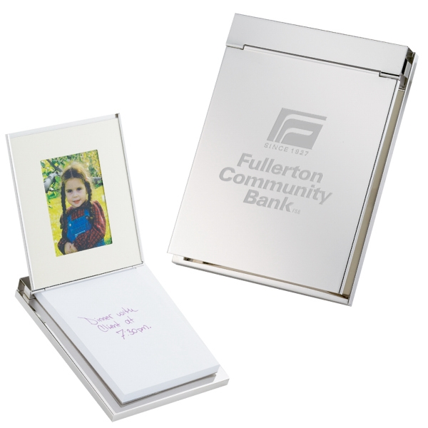 Silver Plated Memo Pad With Picture Frame. Closeout Photo