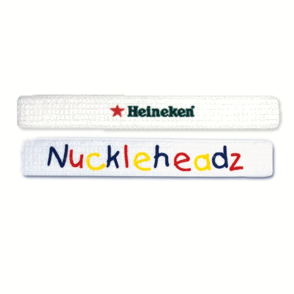 Classic Woven White Headband With 1 Color Imprint Photo