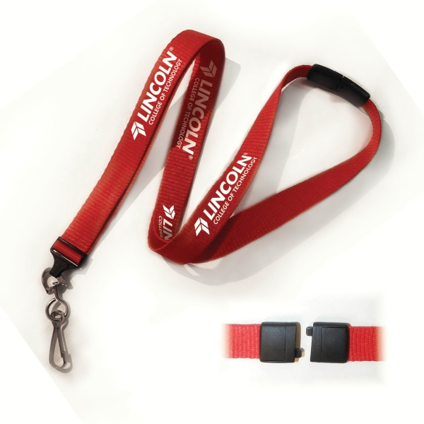 "Smooth Woven 5/8"" Polyester Lanyards - With Safety Breakaway Photo"