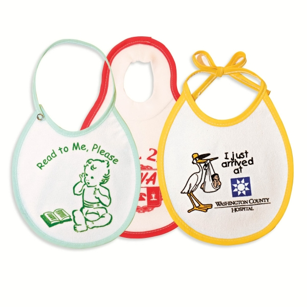 "7-1/4"" X 8-1/2"" Baby Bib With Tie Or Snap Closure Or Pullover Style Photo"