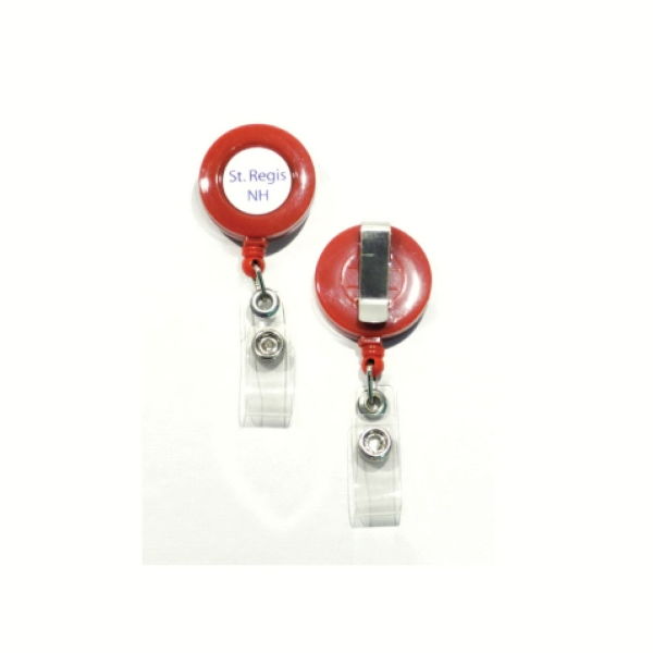 Retractable Pull Reel With Clear Domed Multi-color Label - Solid Colors Photo