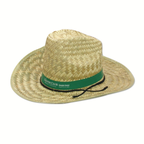 Hi-top Straw Hat With Imprinted Band Photo