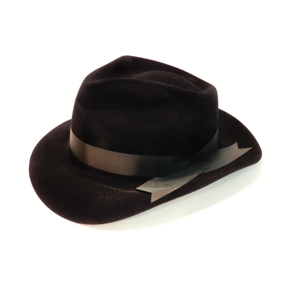 Imprinted Plastic Gangster Hat With Over Label, Black With Black Fabric Ribbon Photo