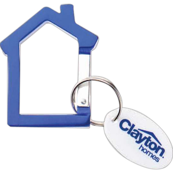 Anodized Aluminum House Shaped Key Chain With A White Plastic Oval Disc Tag Photo