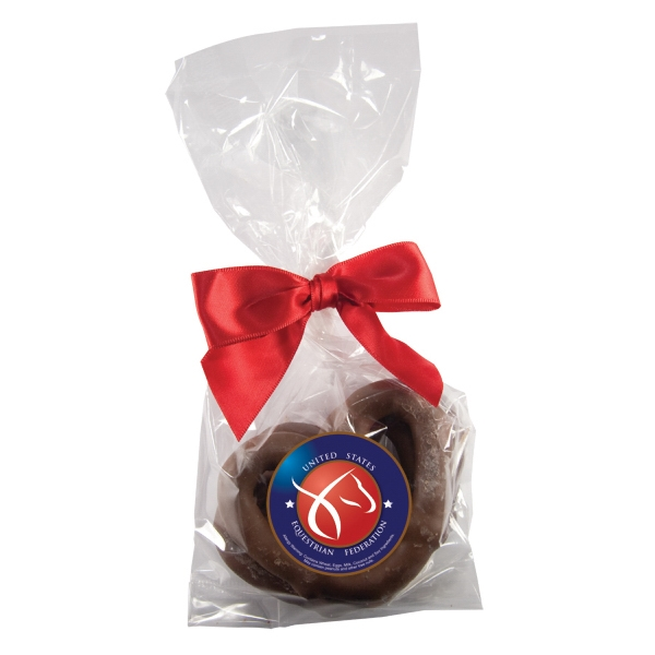 Chocolate Dude - Chocolate Pretzel 3-pack. Chocolate Covered Pretzels In Candy Bag Photo