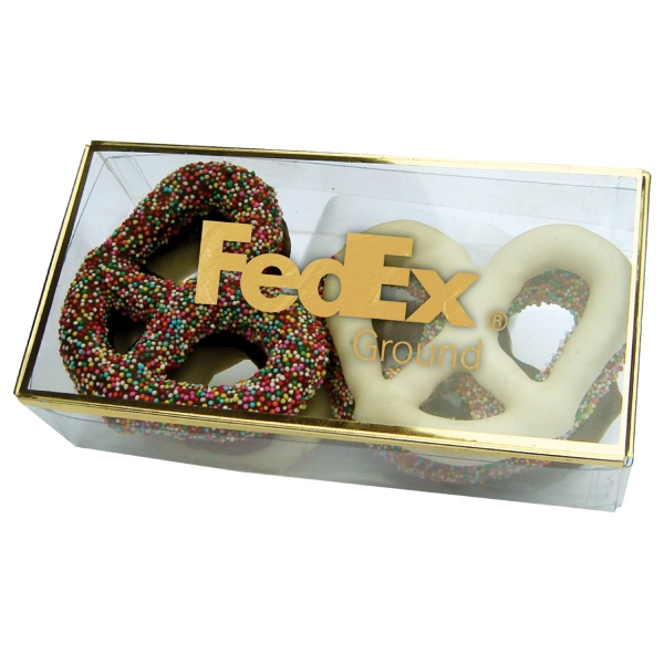 Golden Favorites - Golf Foil-outlined Pretzel Box Filled With Six Delicious Gourmet Chocolate Pretzels Photo