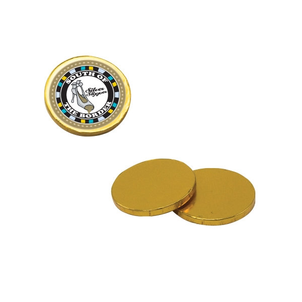 Chocolate Dude - Chocolate Coins. Chocolate Coins Candy With Four Color Process Decal On Wrapper Photo