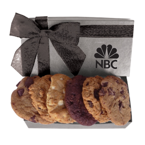 The Executive Cookie Box - Silver - Box Filled With Cookies. For Fresh Baked Cookie Lovers Photo