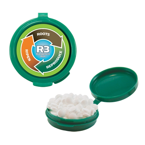 Mint Man Hook-n-go - Green - Plastic Pill Case Filled With Sugar-free Mints. Sugar Free Breath Mints In Pill Case Photo