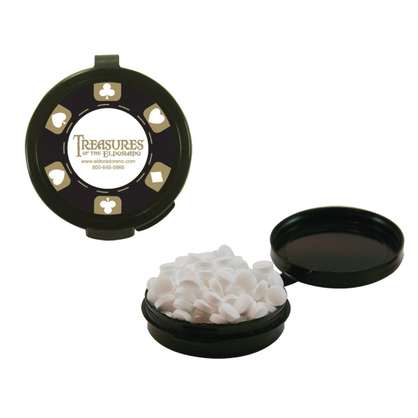 Mint Man Hook-n-go - Black - Plastic Pill Case Filled With Sugar-free Mints. Sugar Free Breath Mints In Pill Case Photo