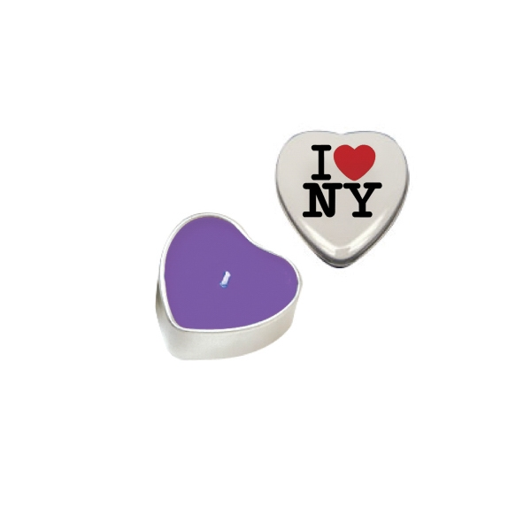 Candle Man - Heart Tin Soy Candle (lilac). Eco Friendly Heart Shaped Soy Candle In Snap Top Tin Photo