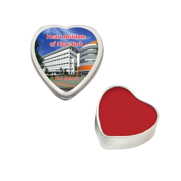 Lip Balm Flavor Mania - Lip Balm Heart Tin. Heart Shaped Tin With Lip Balm, Chapstick, Or Lip Gloss Photo