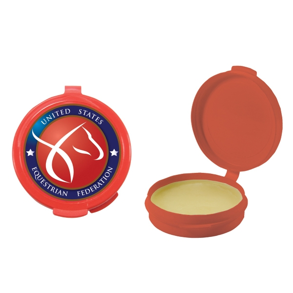 Lip Balm Flavor Mania - Red - Lip Balm In Round Case. Lip Balm/lip Moisturizer/lip Gloss/chapstick In Case Photo