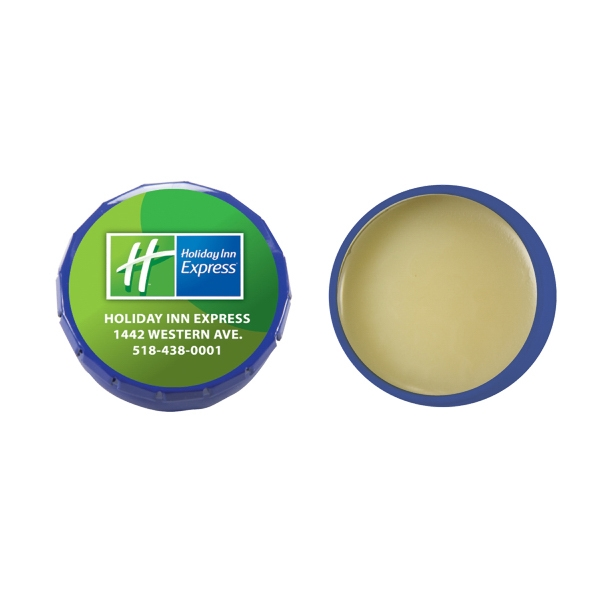 Lip Balm Flavor Mania - Lip Balm Snap Top Tin - Dark Blue. Snap Top Tin With Lip Balm/lip Gloss/moisturizer Photo