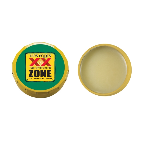Lip Balm Flavor Mania - Lip Balm Snap Top Tin -yellow. Snap Top Tin With Lip Balm/lip Gloss/lip Moisturizer Photo