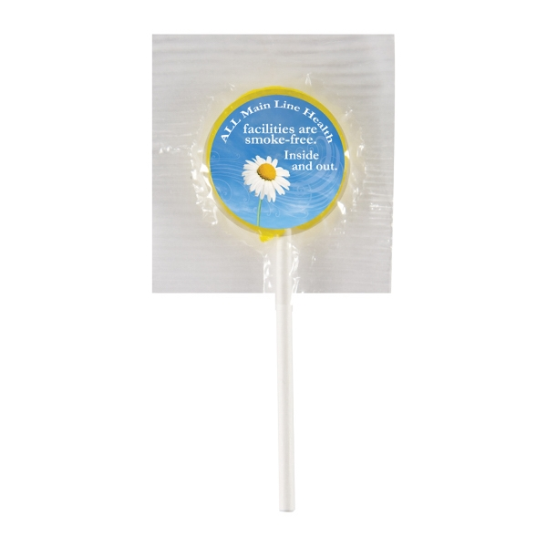 Candy King - Lollipop With Round Label. Lollipop In Plastic Customized With Your Logo Photo