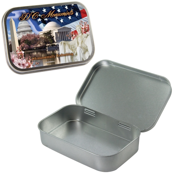 Mint Tin Maniacs - Large Empty Silver Mint Tin. Can Be Filled With Mints, Candy, Or Gum Photo