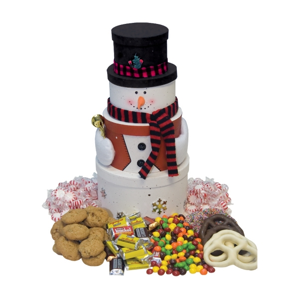 Food Gifts Superstore - Snowman Tower With Chocolate Candy, Mints, Cookies, Pretzels Photo