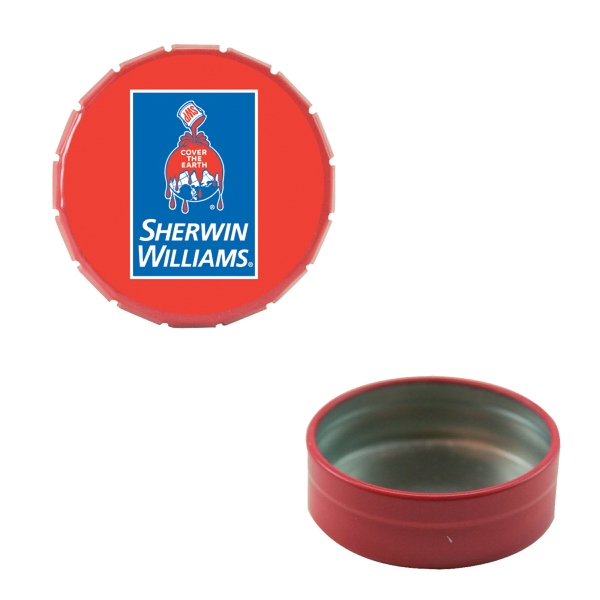 Mint Tin Maniacs - Small Empty Red Snap-top Mint Tin. Can Be Filled With Mints, Candy, Or Gum Photo