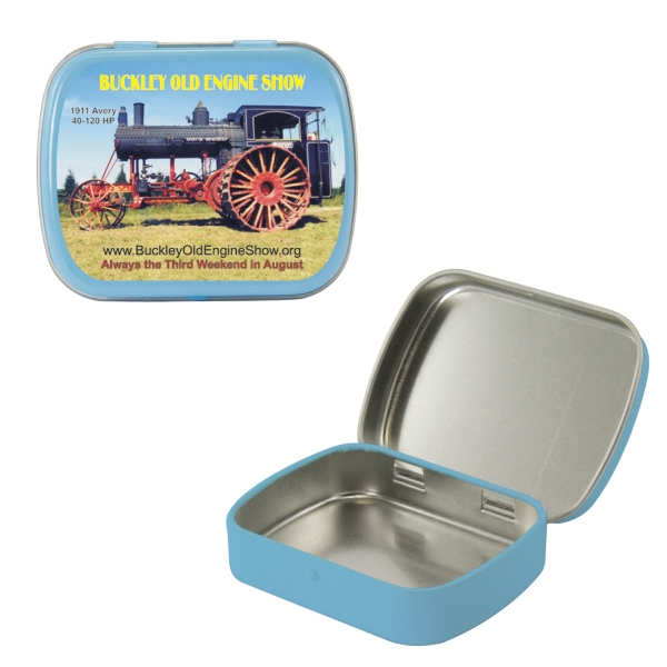 Mint Tin Maniacs - Empty Light Blue Small Mint Tins. Can Be Filled With Mints, Candy, Or Gum Photo