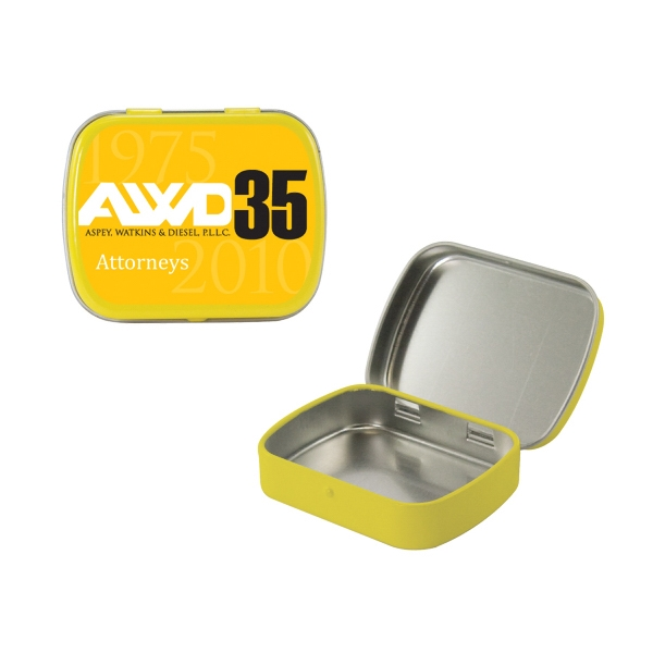 Mint Tin Maniacs - Empty Yellow Small Mint Tin. Can Be Filled With Mints, Candy, And Gum Photo